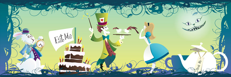 Wonderland Birthdays by coolgraphic.co.uk